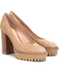 Gianvito Rossi Suede Platform Court Shoes - Natural