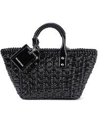 Balenciaga Bistro Xs Woven Faux Leather Tote - Black