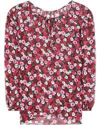 Saint Laurent Bedruckte Bluse aus Seiden-Georgette - Mehrfarbig