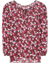 555b3a65a1f2b2 Saint Laurent Cherry Print Blouse in Red - Lyst
