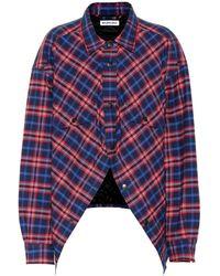 Balenciaga Swing Canadian-checked Cotton-flannel Shirt - Blue