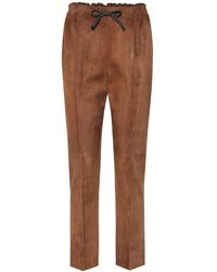 Fendi Pantaloni in suede - Marrone