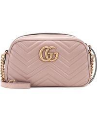 Gucci Women's Porcelain Rose Pink Marmont Leather Shoulder Bag - Multicolour