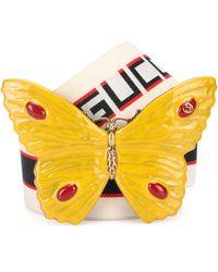Gucci - Butterfly Striped Belt - Lyst