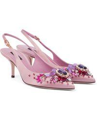 Dolce & Gabbana Slingback-Pumps Cardinale aus Satin - Mehrfarbig