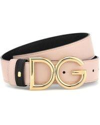 Dolce & Gabbana Ceinture Réversible En Cuir De Veau Dauphine À Logo Dg - Rose