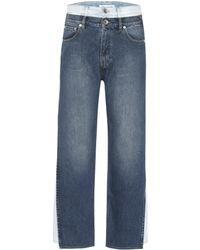 Maison Margiela Jeans cropped de tiro alto en capas - Azul