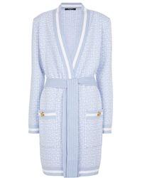 Balmain Monogram Jacquard Wool-blend Cardigan - Blue