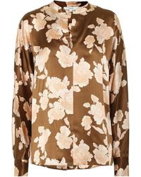 Vince Floral Silk Satin Blouse - Brown