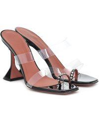 AMINA MUADDI Sami Crystal-embellished Patent-leather And Pvc Sandals - Black