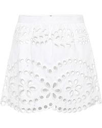 RED Valentino Shorts in cotone con ricami - Bianco