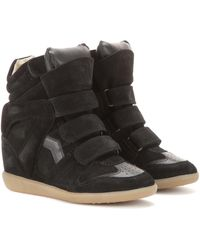 Isabel Marant Bekett Leather And Suede Sneakers - Black
