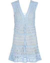 Anna Kosturova Jennifer Crochet Minidress - Blue