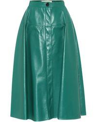 Marni Leather Midi Skirt - Green