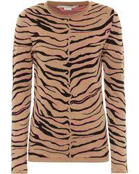 Stella McCartney Pull en laine mélangée à motif tigré - Multicolore