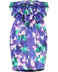Richard Quinn Berucktes Minikleid aus Satin - Blau