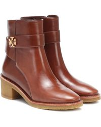 Tory Burch Kira Leather Ankle Boots - Brown
