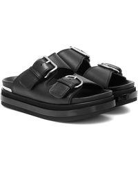 Alexander McQueen Leather Platform Sandals - Black