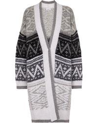 Brunello Cucinelli Patterned Intarsia Knit Cardigan - White