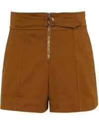 Chloé Pantalones cortos de tiro alto de algodón - Marrón
