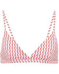 Asceno Genoa Wave-print Bikini Top - Red