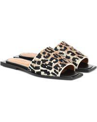 Ganni Leopard-print Beaded Slides - Natural