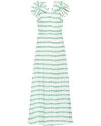 Delpozo Striped Linen-blend Dress - Green