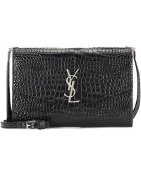 Saint Laurent Uptown Monogram Croc-embossed Leather Wallet-on-chain - Black