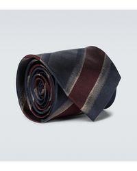 Dries Van Noten Striped Silk Tie - Blue