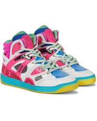 Gucci Basket Faux Leather Trainers - Multicolour