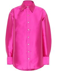 Matthew Adams Dolan Satin-twill Oversized Shirt - Pink