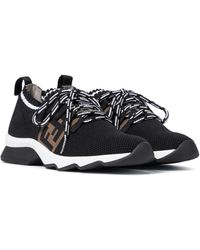 Fendi Sneakers FF aus Strick - Schwarz