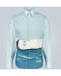 Lanvin Chemise en coton à imprimé Babar - Bleu