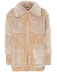Stella McCartney Cardigan aus Wolle und Faux Fur - Natur