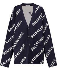 Balenciaga Cardigan in jacquard di lana con logo - Blu