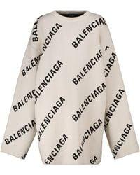Balenciaga Logo Jacquard Cotton And Wool-blend Jumper - White
