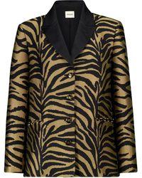 Khaite Joan Zebra-print Twill Blazer - Black