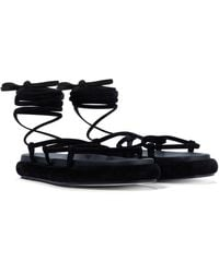 Khaite Alba Suede Sandals - Black