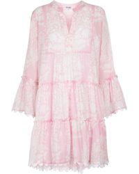 Juliet Dunn Floral Cotton Minidress - Pink