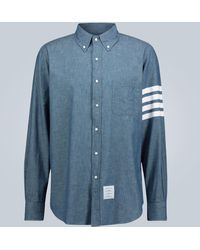 Thom Browne Hemd 4-Bar aus Chambray - Blau