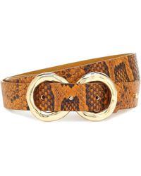 Rejina Pyo Infinity Python-effect Leather Belt - Brown