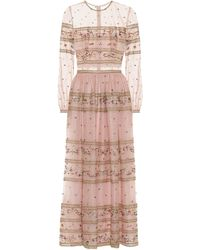 Costarellos Embroidered Tulle Gown - Pink