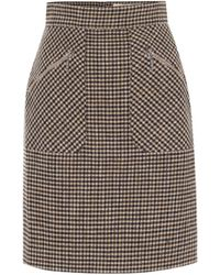 ALEXACHUNG Judy Houndstooth Miniskirt - Brown