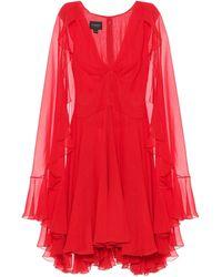 Giambattista Valli Vestido corto de seda plisado - Rojo