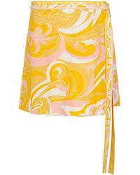 Emilio Pucci Bedruckter Wickelrock aus Baumwolle - Gelb
