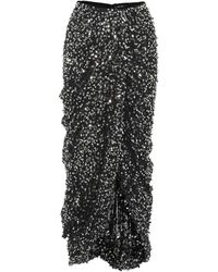 Isabel Marant Jupe mi-longue brodée de sequins - Noir