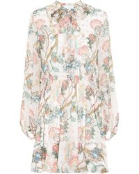 Chloé Embroidered Printed Silk Dress - Natural