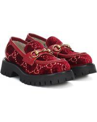 Gucci Horsebit GG Velvet Loafers - Red