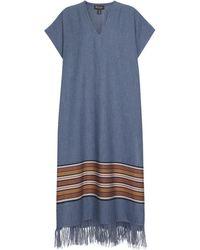 Loro Piana Exclusive To Mytheresa – The Suitcase Stripe Cotton And Linen Kaftan - Blue