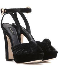 Dolce & Gabbana Velvet Sandals - Black